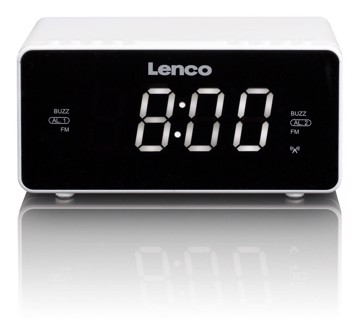 Picture of Lenco CR-530WI Stereo FM alarm clock radio with radio-controlled clock and AUX input - White
