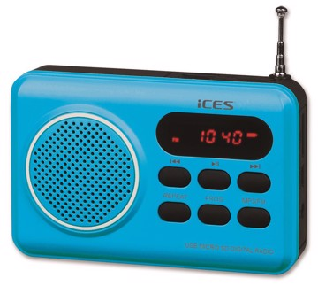 Picture of ICES IMPR-112 Portable radio FM SD, USB rechargeable Blue