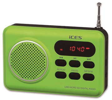Picture of ICES IMPR-112 Portable radio FM SD, USB rechargeable Green
