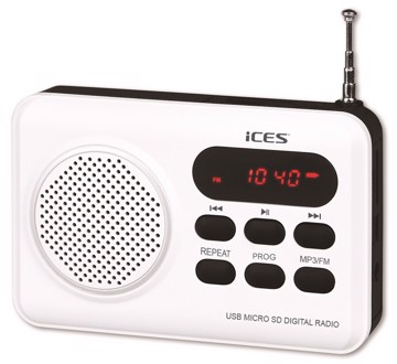 Picture of ICES IMPR-112 Portable radio FM SD, USB rechargeable White