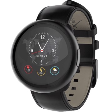 Picture of MYKRONOZ ZEROUND2HR PREMIUM BRUSHED BLACK/BLACK FLAT (LEATHER BAND) Smartwatch