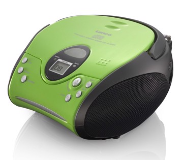 Picture of Lenco SCD-24 Green/Black - Portable stereo FM radio with CD player - Green/black