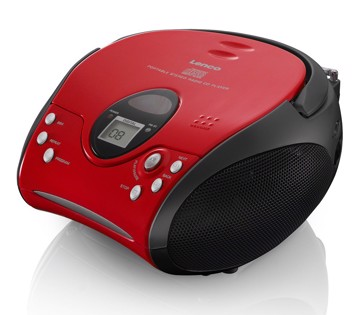 Picture of Lenco SCD-24 Red/Black - Portable stereo FM radio with CD player - Red-black