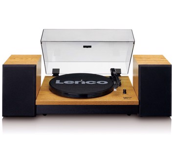 Picture of Lenco LS-300BK - Turntable with two separate speakers - Wood