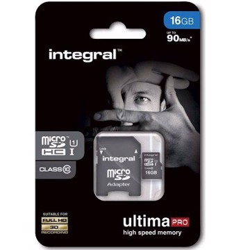 Picture of INTEGRAL ULTIMAPRO MICROSDHC/XC 90MB CLASS 10 UHS-I U1 - 16GB (with Adapter to SD Card) Κάρτα μνήμης