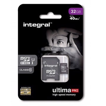 Picture of INTEGRAL ULTIMAPRO MICROSDHC/XC 90MB CLASS 10 UHS-I U1 - 32GB (with Adapter to SD Card) Κάρτα μνήμης