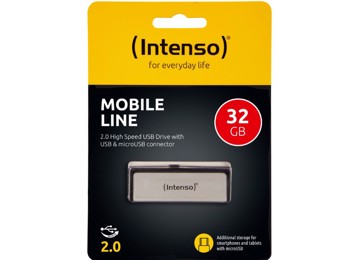 Picture of Intenso® USB Drive 2.0 - MOBILE LINE - 32GB + Micro USB port